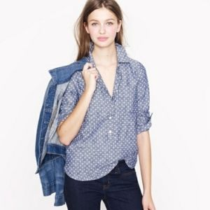 J. Crew Circle-print Chambray Popover Shirt Size 0